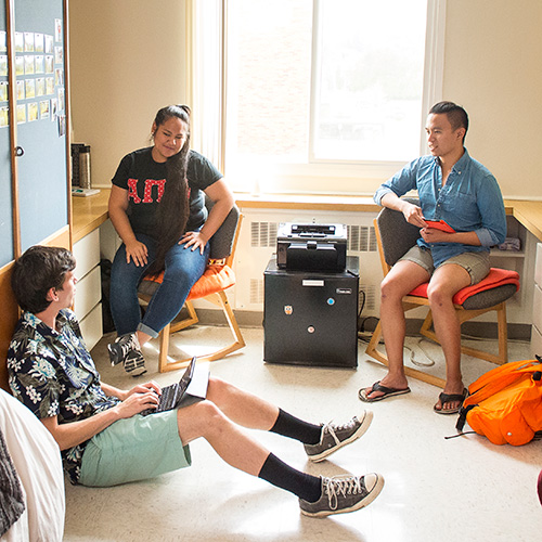Students in Callahan Residence Hall room