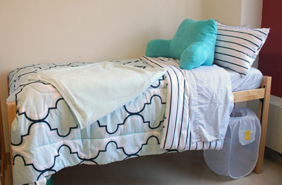 bed in Cauthorn Hall room