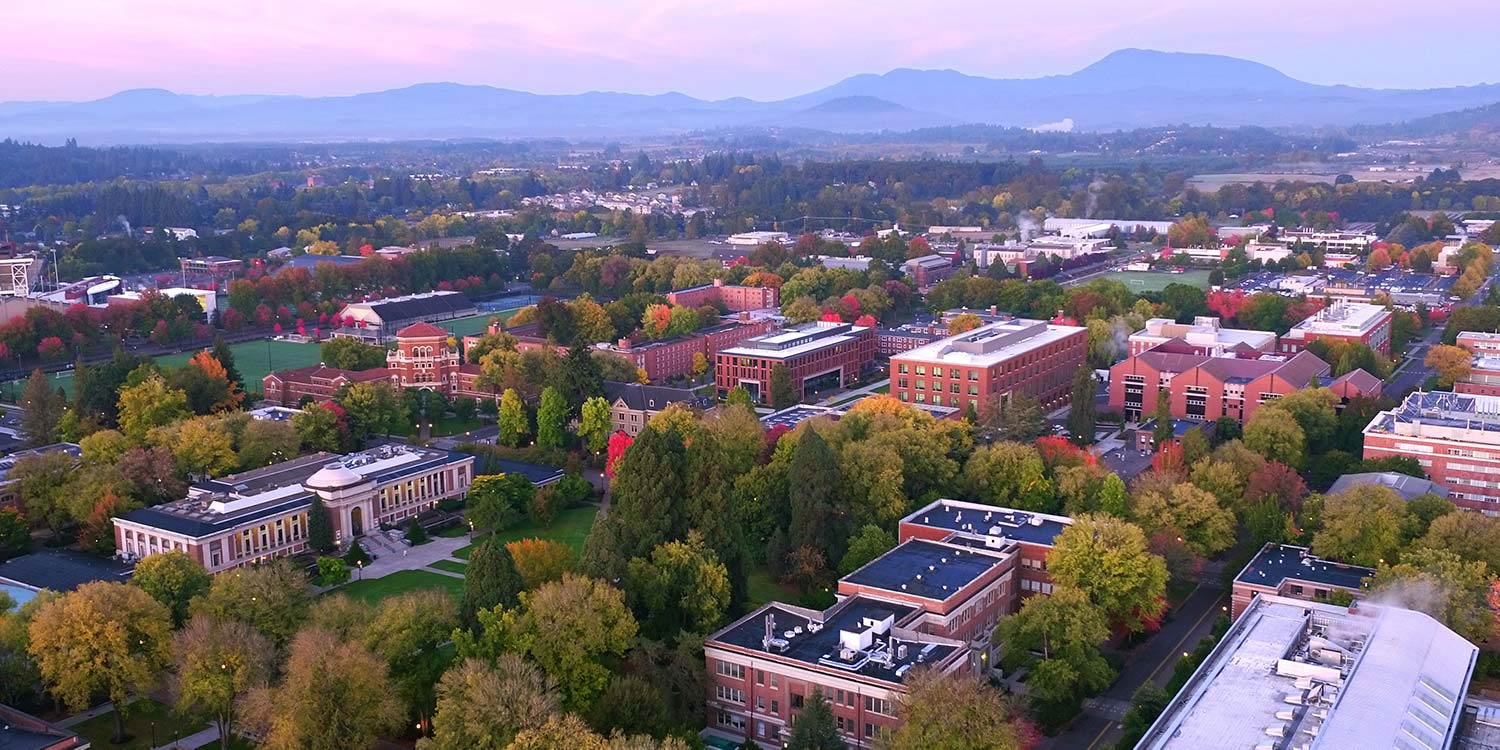 aerial view of Oregon State campus in the fall