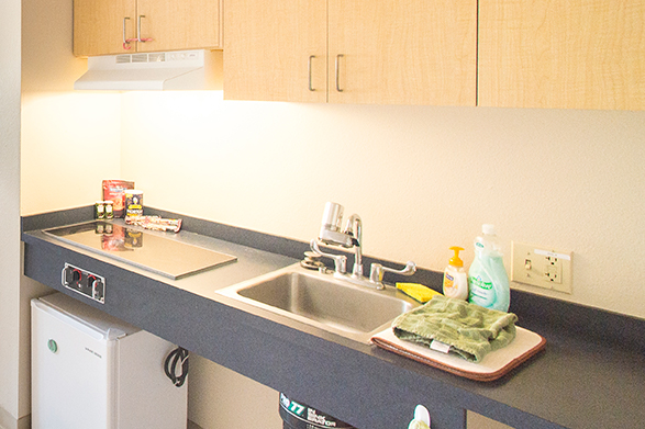 Kitchenette in Halsell hall suite