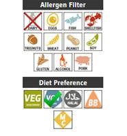 nutrition icons with allergen filter