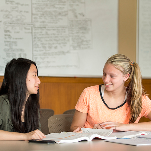Students studying in Sackett Residence Hall lounge