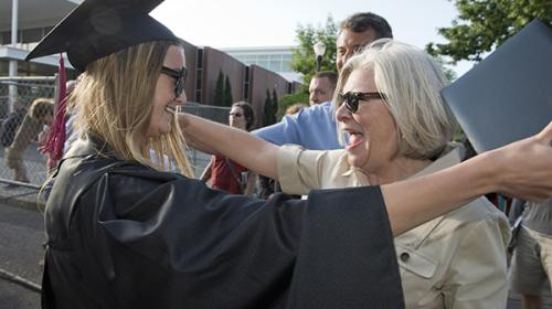 Family members at Oregon State University commencement